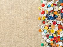 Colourful sewing buttons with copy space Stock Photos