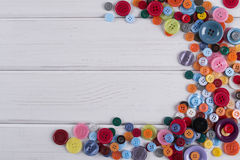 Colourful sewing buttons frame Stock Photography