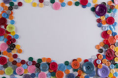 Colourful sewing buttons frame Stock Image
