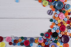 Colourful sewing buttons frame Royalty Free Stock Photography