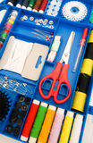 Colourful sewing kit with many items Royalty Free Stock Photography