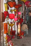 Shop in the Souk sells fairytale shaded lamps, Marrakech, Marocco Stock Photography