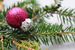 Colourful shiny Christmas baubles Royalty Free Stock Images