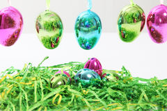 Colourful shiny metallic Easter Eggs Royalty Free Stock Photography