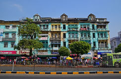 Colourful shophouse building along Sule Pagoda Road in Yangon, Myanmar Stock Images