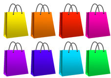 Colourful shopping bags. Eight colourful shopping paper bags Stock Images
