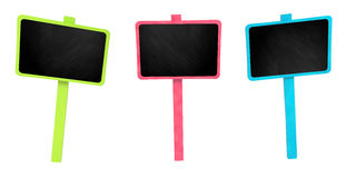 Colourful signboard set with chalkboard on white background stock images