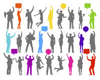 Colourful silhouette of rejoiced business people Stock Images
