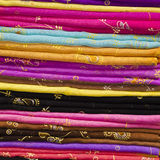 Colourful Silk Cloth Stack Royalty Free Stock Photography