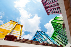 Colourful Singapore HDB. This image shows a colurful High Density Housing Block in Singapore Stock Photography