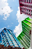 Colourful Singapore HDB. This image shows a colurful High Density Housing Block in Singapore Stock Photo
