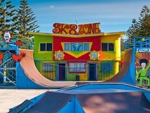 Colourful skatepark. A colourful skatepark under a blue sky Stock Images