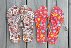 Colourful slippers Stock Photos