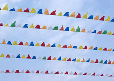 Colourful Small triangular decorative pennons Stock Images