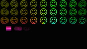 Colourful smiley faces appearing in a grid stock video footage