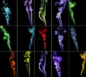 Colourful smoke collection 2. Colourful smoke collection composed of 15 different smokes Royalty Free Stock Image