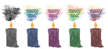`Merry Meet` candles vector illustration