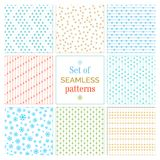 Set of seamless snowflakes patterns. Stock Photography