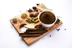 Indian Garam Masala powder / Indian spice mix. Colourful spices for Garam Masala. Food ingredients for garam masala, indian spice mix with Powder. Selective Stock Images
