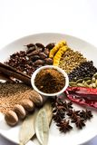 Indian Garam Masala powder / Indian spice mix. Colourful spices for Garam Masala. Food ingredients for garam masala, indian spice mix with Powder. Selective Royalty Free Stock Photo