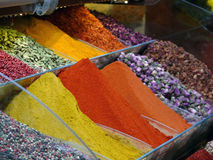 Colourful Spices and Tea in the Spices Bazaar of Istanbul Stock Image
