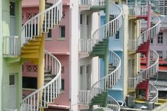 Colourful spiral staircases on residential buildings in Little India, Singapore royalty free stock images