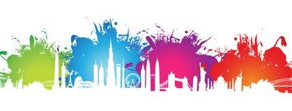 Colourful splash cityscape Stock Images