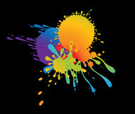 Colourful splat design. Colourful bright ink splat design with a black background vector illustration