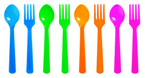 Colourful spoon and fork Royalty Free Stock Photo