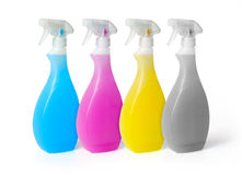 Colourful spray cleaners. Isolated on white background Stock Photography