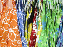 Colourful spring dresses displayed. Bright summer dresses on display Royalty Free Stock Photography