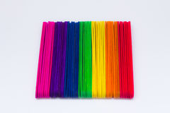 Colourful square popsicle sticks ice cream. On white background stock image