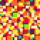 Colourful square seamless pattern with grunge effect Stock Image