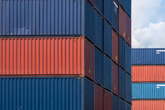 Colourful stack pattern of cargo shipping containers Royalty Free Stock Images
