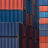 Colourful stack pattern of cargo shipping containers Stock Images
