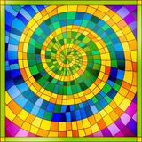 Colourful stained glass. Spiral shiny bright colourful stained glass ornament Royalty Free Stock Photos