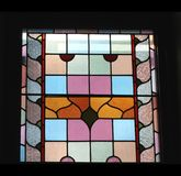 Colouful stained glass window, black background, Adelaide, Australia Royalty Free Stock Image