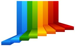 A Colourful Stairway on White Background. Illustration royalty free illustration
