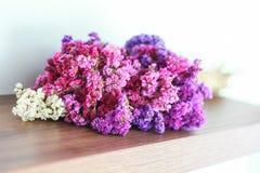 Colourful statice kwiat na drewnianych podłoga Zdjęcia Royalty Free