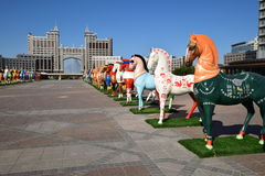 Colourful statues of horses in Astana Stock Photos