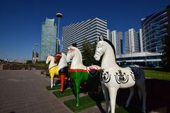 Colourful statues of horses in Astana Royalty Free Stock Image