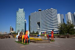 Colourful statues of horses in Astana Stock Photography