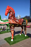 Colourful statues of horses in Astana Stock Images