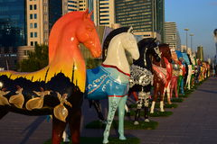 Colourful statues of horses in Astana Stock Photo