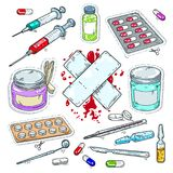 Colourful Sticker Of Medical Drugs, Tablets, Syringes And Plaster Royalty Free Stock Photography