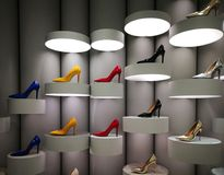 Colourful stilettos on store display. Colourful glamorous stilettos on futuristic display Stock Image