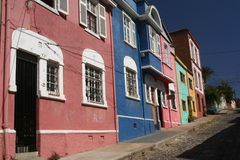 Colourful Street. Colourful buildings on the hilly street in Valparaiso stock photos