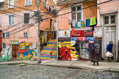 Colourful street art decorating houses in Valparaiso, Chile. Royalty Free Stock Photo