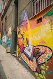 Colourful street art decorating houses in Valparaiso, Chile. Stock Photo