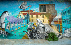 Colourful street art decorating houses in Valparaiso, Chile. Stock Image